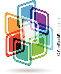 vindima, cor, quadrados, matriz, logotipo