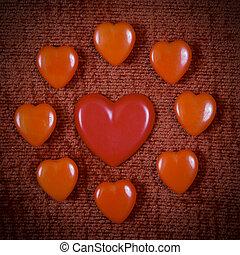 vindima, corações, Dia, valentine