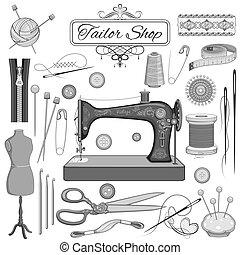 vindima, cosendo, e, alfaiate, objeto