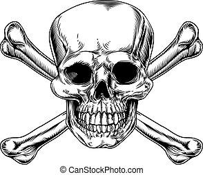 vindima, crossbones, cranio, sinal