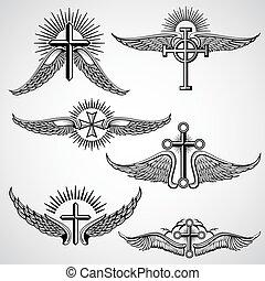 vindima, crucifixos, e, asas, tatuagem, vetorial, elementos