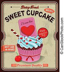 vindima, cupcake, desenho, cartaz