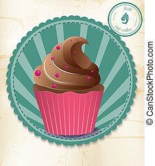 vindima, cupcake, papel, etiqueta