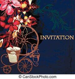 vindima, denominado, vetorial, fundo, hibisco, flores, ligado, um, profundo, azul, grunge, padrão, convite casamento, ou, salvar, a, data, card.eps
