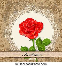 vindima, desenho, cartão, rosa