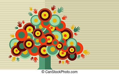 vindima, desenho, coloridos, árvore, mão