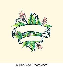 vindima, desenho, floral, trópico, fita, turmeric