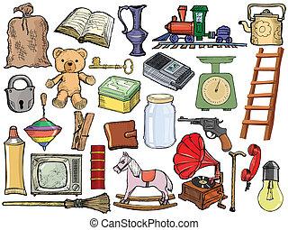 vindima, diferente, jogo, objetos