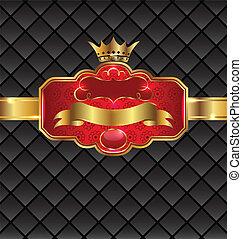 vindima, dourado, emblema, com, coroa real