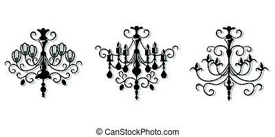 vindima, elegante, lustre, set., vetorial, luxo, real, ricos, estilo, decor., clássicas, lâmpada, ilustração, esboço