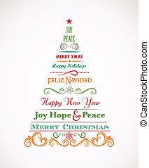 vindima, elementos, árvore, natal, texto