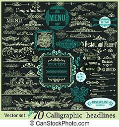 vindima, elementos, desenho, calligraphic