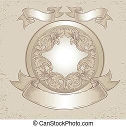 vindima, emblema, com, padrões florais