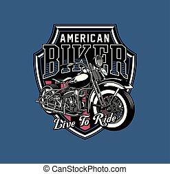 vindima, emblema, motocicleta
