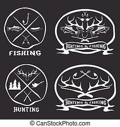 vindima, emblemas, jogo, pesca, caça