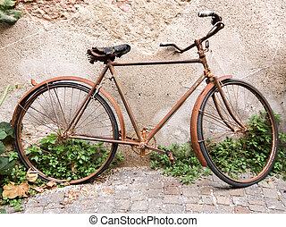 vindima, enferrujado, bicicleta, antigas