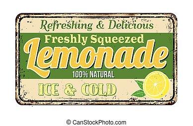 vindima, enferrujado, limonada, sinal metal
