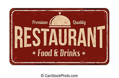 vindima, enferrujado, restaurante, sinal metal