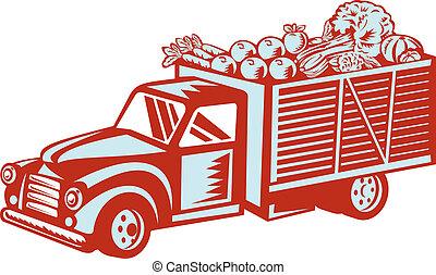 vindima, entrega, caminhão camionete, retro, colheita