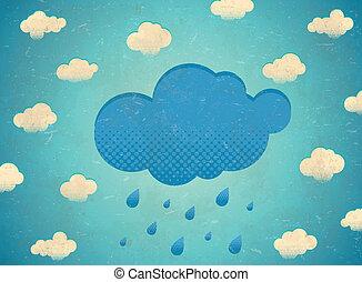 vindima, envelhecido, cartão, com, chuvoso, nuvens