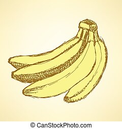 vindima, esboço, estilo, gostoso, bananas