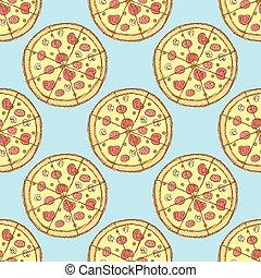 vindima, esboço, gostoso, estilo, pizza