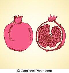 vindima, esboço, gostoso, estilo, pomegranates
