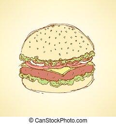 vindima, esboço, hamburger, estilo, gostoso