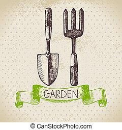 vindima, esboço, jardinagem, experiência., mão, desenhado,...