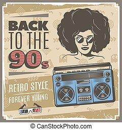 vindima, estilo, 90s, cartaz