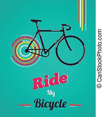 vindima, estilo, bicicleta, cartaz