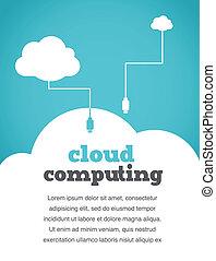 vindima, estilo, computando, nuvem, cartaz