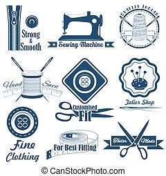 vindima, estilo, cosendo, alfaiate, etiqueta