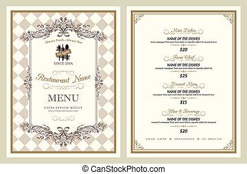vindima, estilo, menu restaurante, desenho