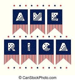 vindima, estilo, slogan, texto, vetorial, desenho, 4, th, doce, impressão, lar, julho, américa, meu, celebração