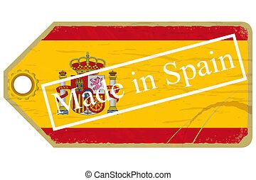 vindima, etiqueta, com, a, bandeira, de, espanha