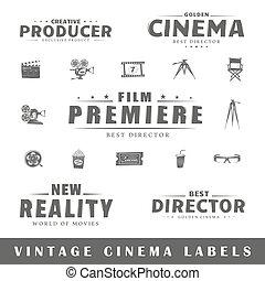 vindima, etiquetas, jogo, cinema