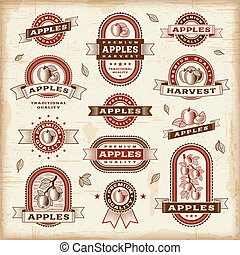 vindima, etiquetas, jogo, maçã