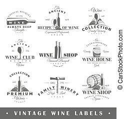 vindima, etiquetas, jogo, vinho