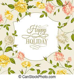 vindima, feriado, cartão, rosas