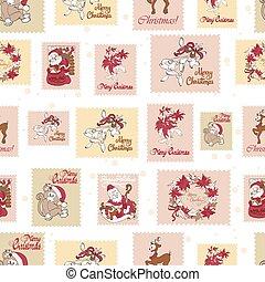 vindima, feriado, selos, verde, natal, seamless, pattern., san, nikolas., rudolph, poinsettias