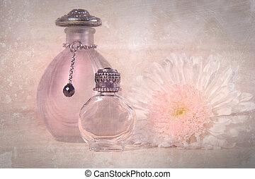 vindima, flor, garrafas, perfume