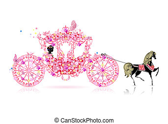 vindima, floral, carruagem