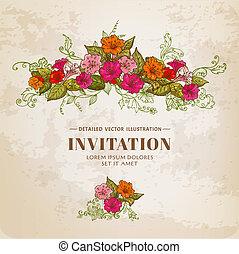 vindima, floral, cartão, -, para, desenho, fundo, convite, -, em, vetorial