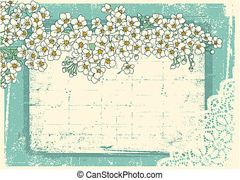 vindima, floral, fundo, com, grunge, decoração, quadro,...