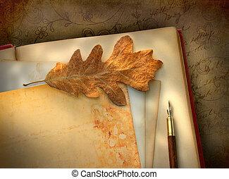 vindima, floral, papel, com, foto
