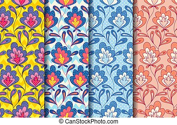 vindima, floral, pattern.