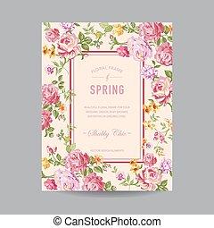 vindima, floral, quadro, -, para, convite, casório, chuva bebê, cartão, -, em, vetorial
