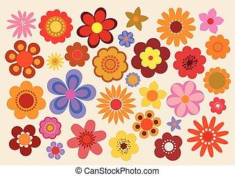 vindima, flores, 60s/70s
