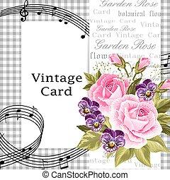 vindima, flores, cartão